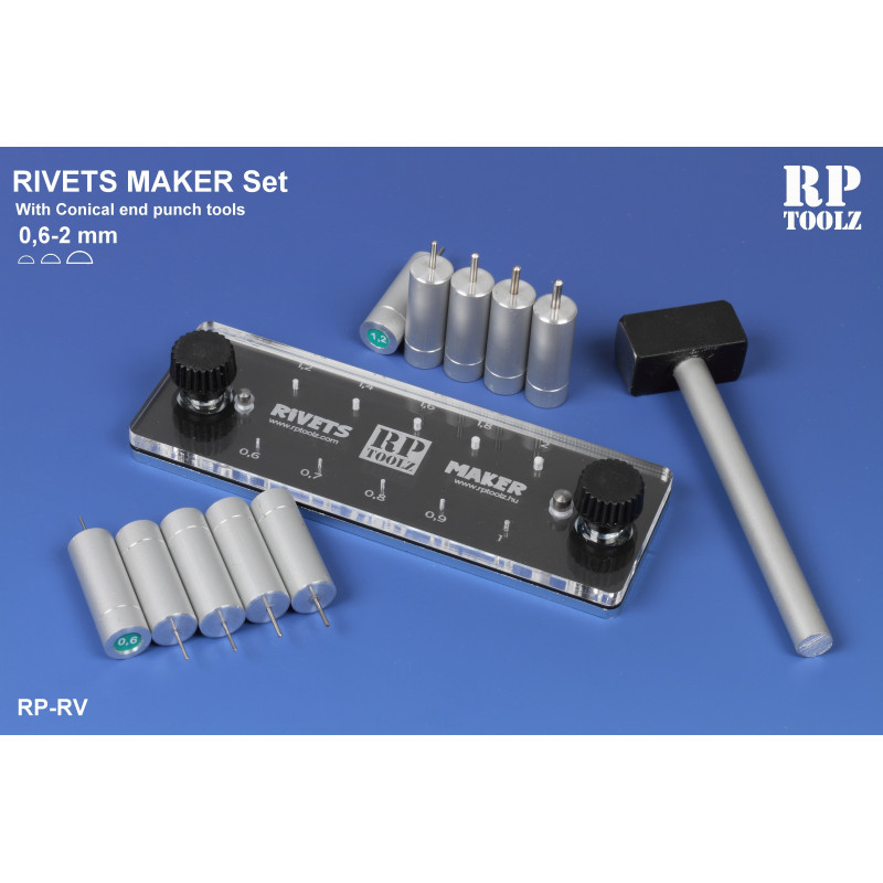 Rivets maker,10 different punch tool from 0,6mm to 2mm