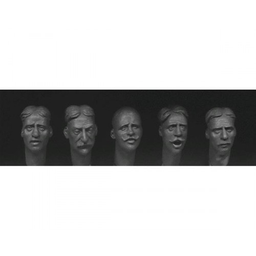 5 heads with various European faces with haircuts and facial hair circa 1880 -1914. 1/35