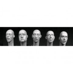 5 heads with various SCARED European faces 54MM.