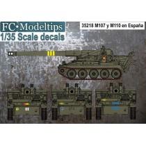 Calcas para el M107 y M110 en España, escala 1/35