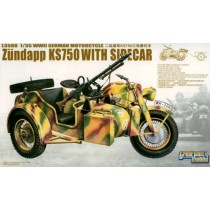WWII German Zundapp Ks750 With Sidecar W/ Trailers 1/35
