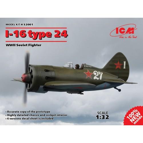 Polikarpov I-16 type 24, WWII Soviet Fighter (100% new molds) 1/32
