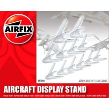 Assorted clear plastic aircarft stands Stands. 6 x small. 4 x medium. 2 x larger.