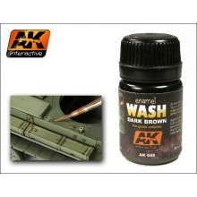 ENAMEL WASH: DARK BROWN FOR GREEN VEHICLES 35ML.