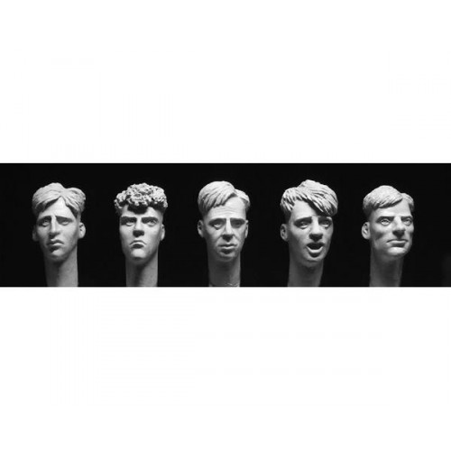 5 heads with 1940/50s 'short back and sides' haircuts 1/35