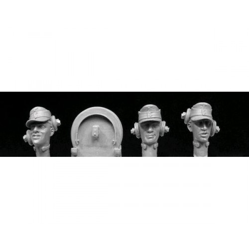 3 HEADS, SS panzer crew with separate headband assembly  1/35