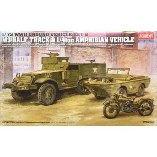WWII US M3 Half Track, 1/4 Ton Amphibian Vehicle & Motorbike 1/72