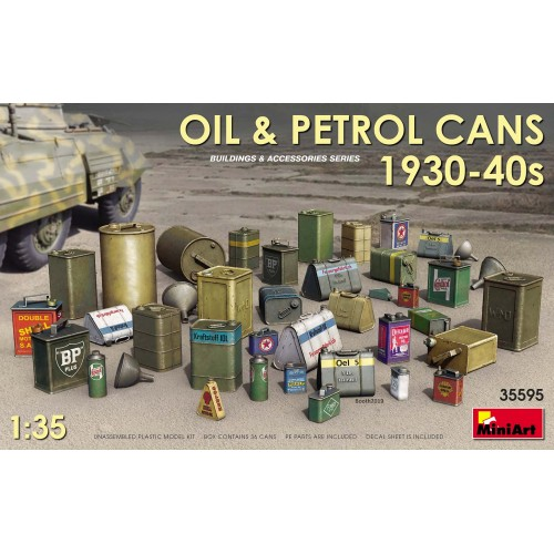 Oil and petrol cans from the 1930-40s.