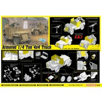 Armored 1/4-Ton 4x4 T(JEEP) Truck w/.50-cal Machine Gun (3 in 1) 1/35