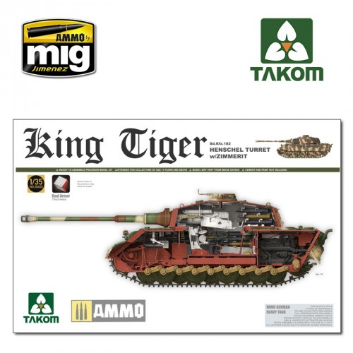 Pz.Kpfw.VI King Tiger with Porsche Turret and Zimmerit and Interior. German Heavy Tank Sd.Kfz.182  1/35