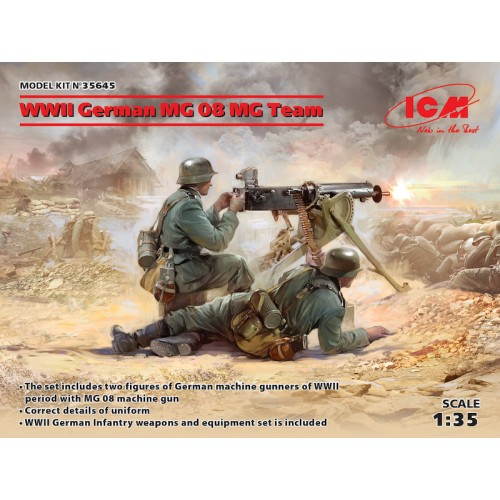 WWII German MG08 Machine Gun Team with 2 figures (100% new molds) 1/35