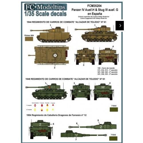 Calcas Panzer IV y Stug III en España 1/35