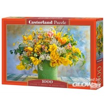 Spring Flowers in green vase 1000 pzas