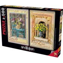 Puzzle Anatolian Sonrisa y Amor Verdadero de 2 x 500 Piezas