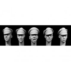 5 heads WW2 German Army officer's 'crusher' caps 1/35
