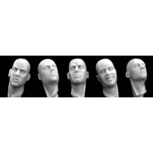 Different bareheads w/necks turned sidew