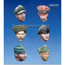 HEADS SET 1 WW2 GERMAN OFFICERS HEADS 1/35