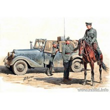 Urgent dispatch. Mercedes-Benz Sd.Kfz. 2 Type 170VK German military radio car with crew, WWII 1/35