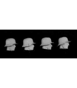 4 Cabezas alemanas con casco 1/32