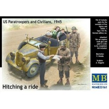 Sd.Kfz.1 type 170 VK and 5 figures. Hitching a Ride, US Paratroopers x 2 and Civilians x 3